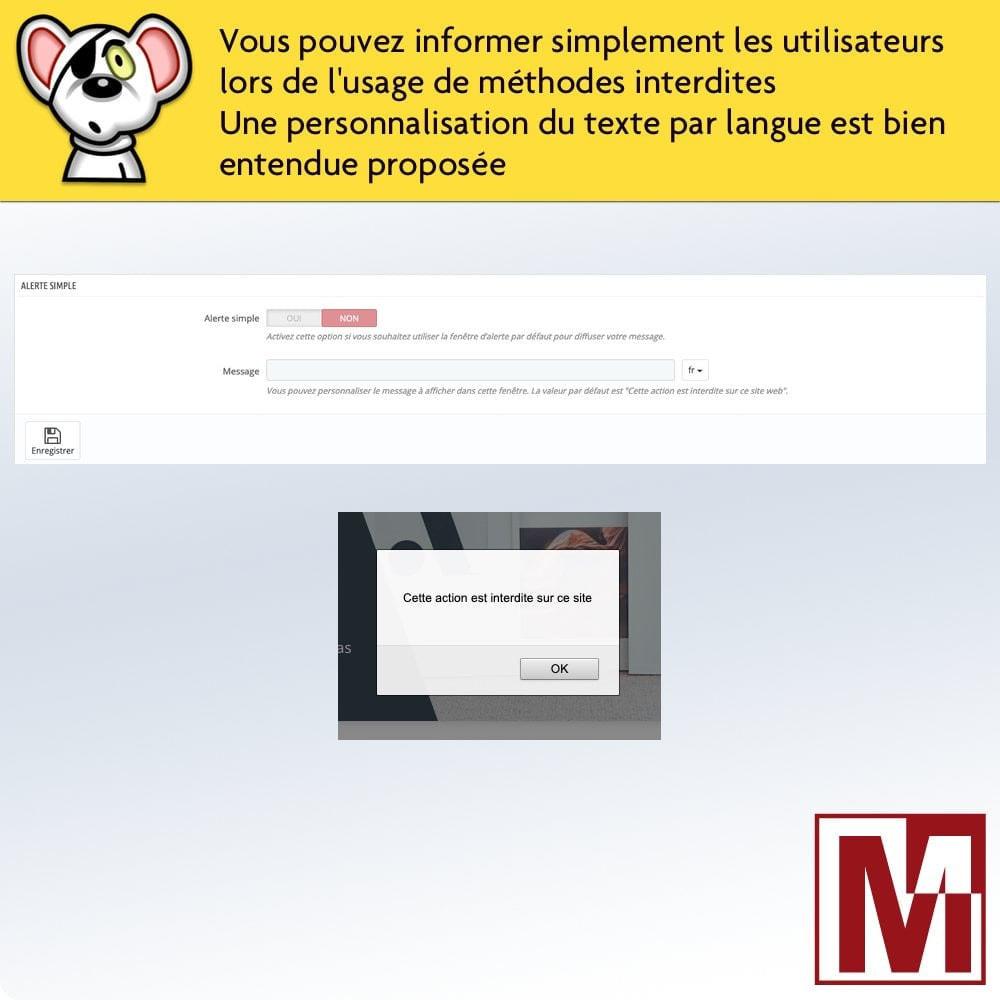 module - Sécurité & Accès - Interdire le clic droit et sécuriser les données - 4