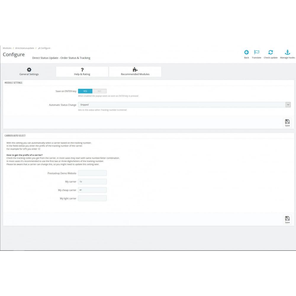 module - Auftragsabwicklung - Status, Spediteur und Verfolgung – Direct Status Update - 3
