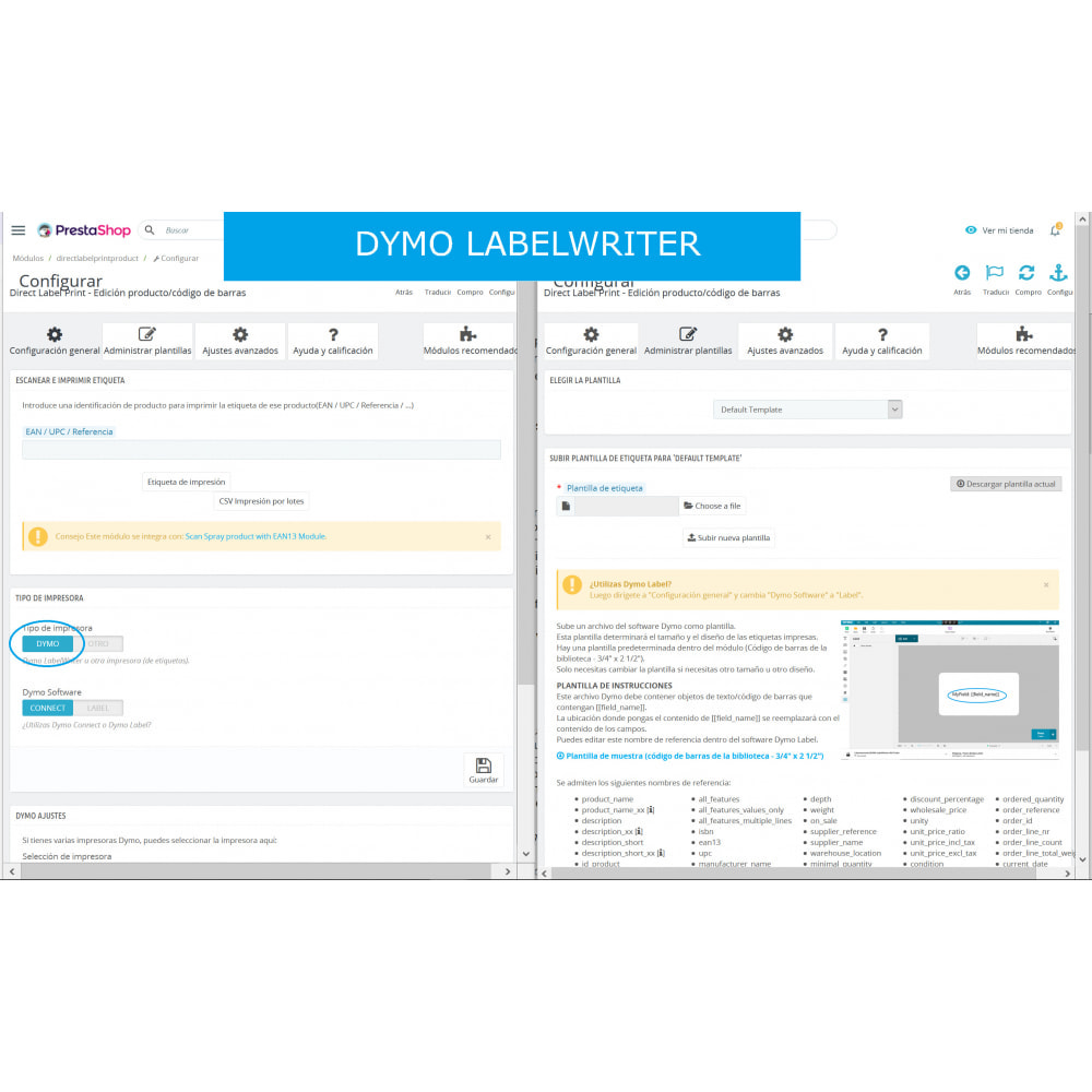 module - Preparación y Envíos - Etiquetas producto/código de barras - DirectLabelPrint - 6