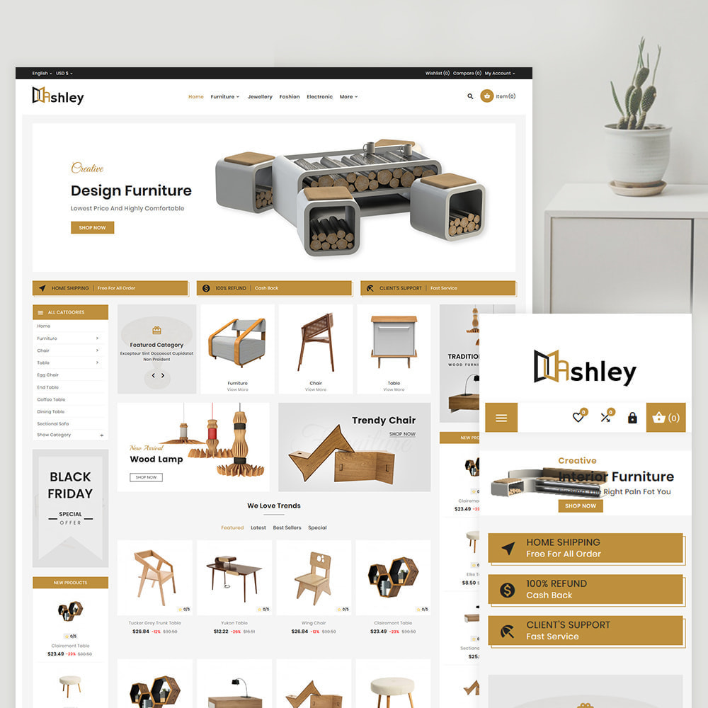 theme - Дом и сад - Ashley – Modern Furniture Shop - 1