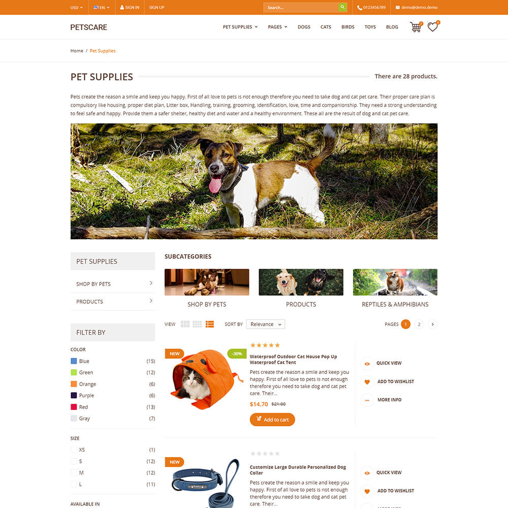 theme - Animaux - PetsCare - Magasin d'animaux - 5