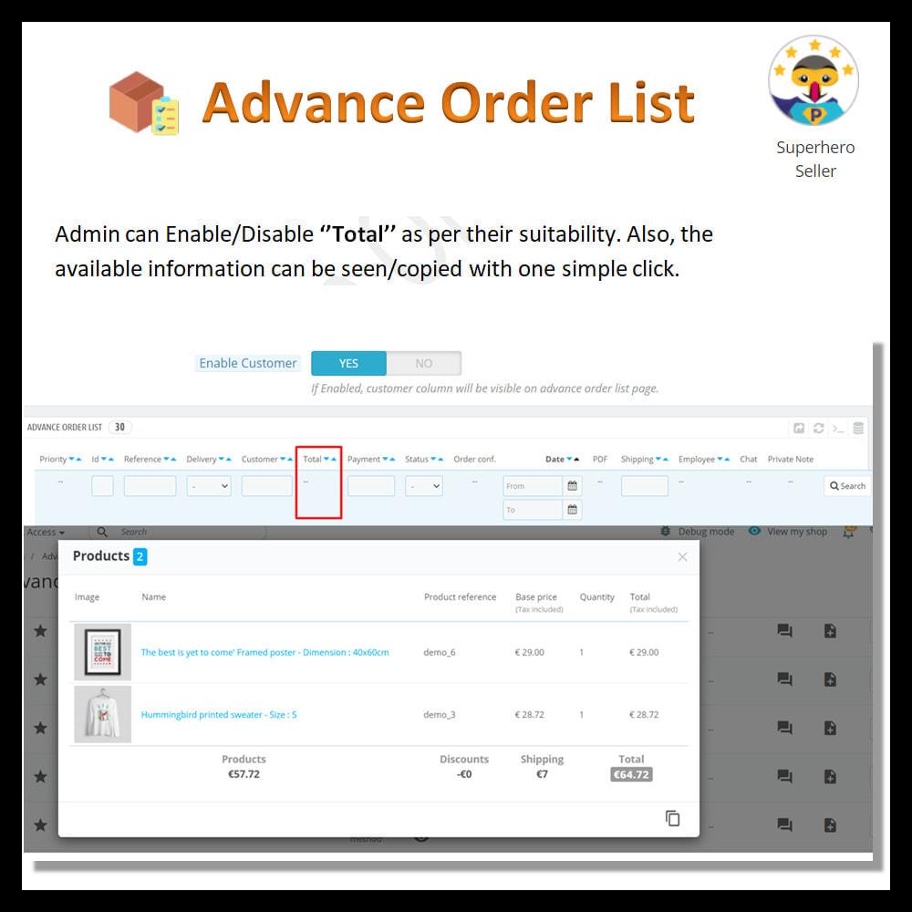 module - Order Management - Advance order list-configurable/ fast view - 8