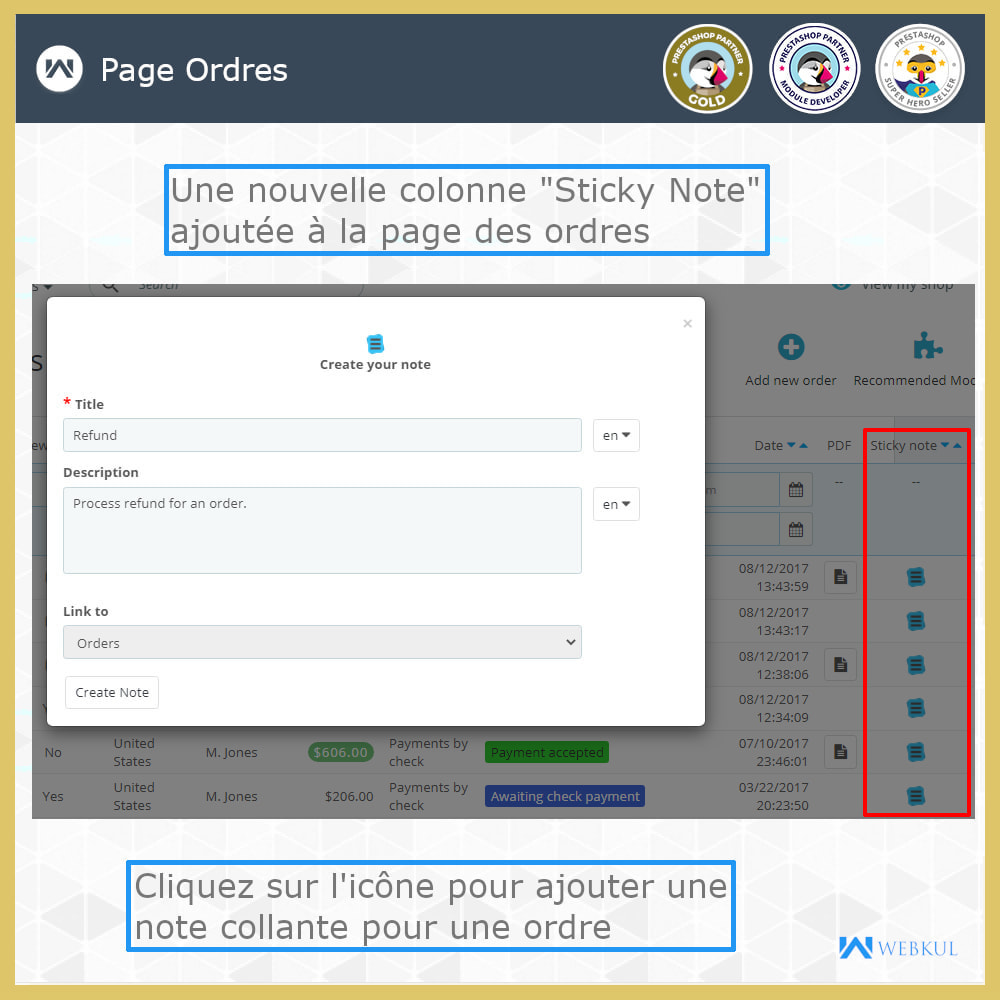 module - E-mails & Notifications - Sticky Notes pour commandes et catégories - 3