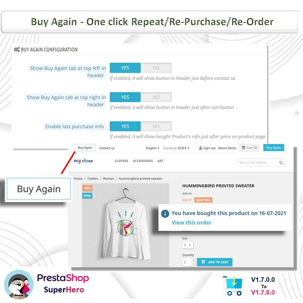 module - Bestelproces - Buy Again- One click Repeat/Re-Purchase/Re-Order - 5