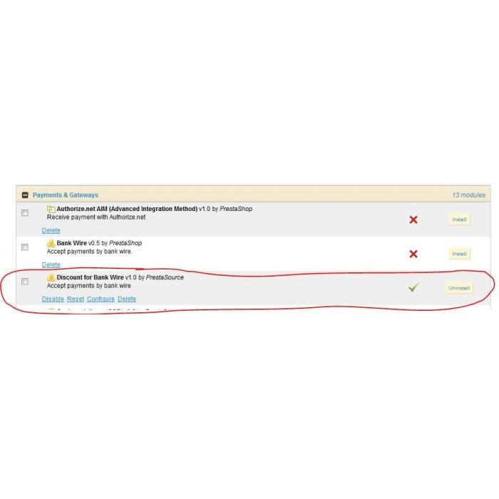 module - Zahlung per Überweisung - Bankwire with Discount - 7