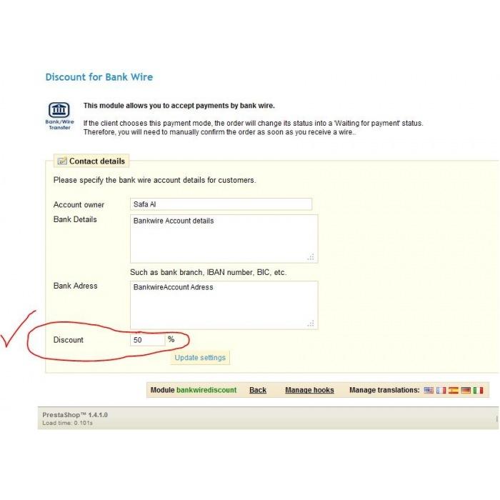 module - Pago por Transferencia - Bankwire with Discount - 8