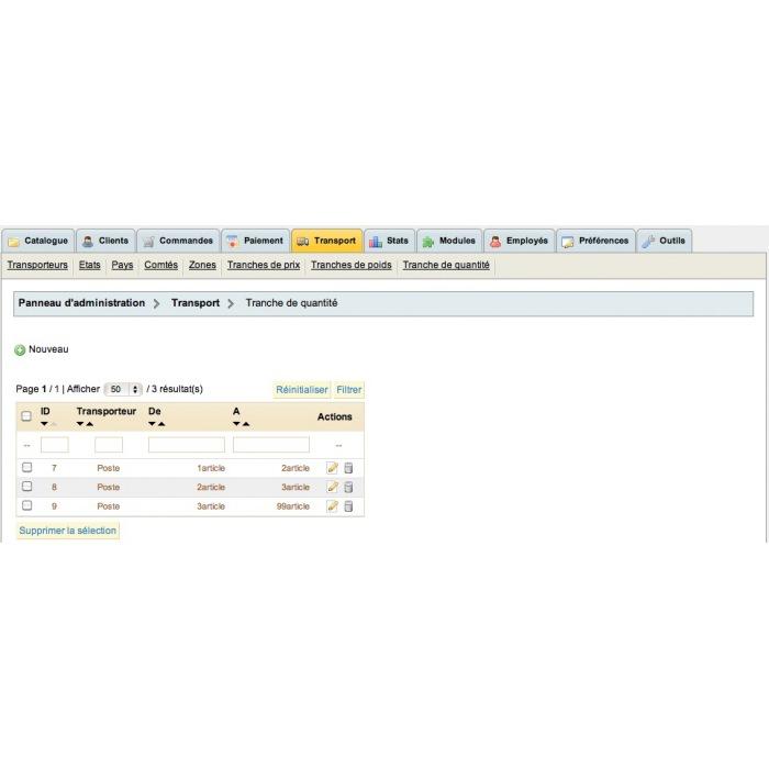 module - Стоимость доставки - Frais de port en fonction du nombre de produits - 2