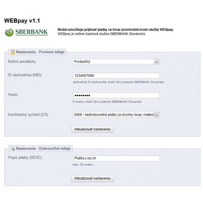 module - Payments & Gateways - WEBpay (SBERBANK) - 2