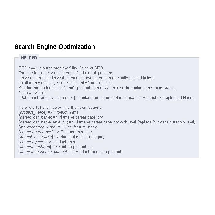 module - SEO (référencement naturel) - SEO (Référencement) - PrestaShop 1.4 - 2