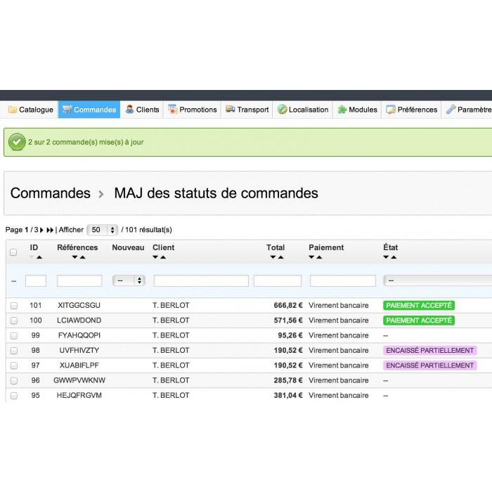 module - Edition rapide & Edition de masse - Mise à jours des statuts de commandes en masse - 6