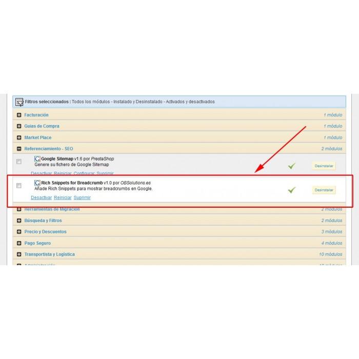 module - SEO (Posicionamiento en buscadores) - Google Rich Snippets Breadcrumbs [schema.org markup] - 3