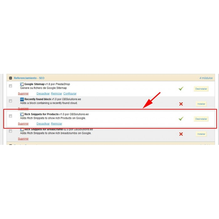 module - SEO (Posicionamiento en buscadores) - Google Rich Snippets en Productos - 6