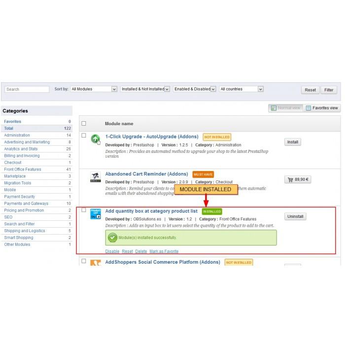module - Inscripción y Proceso del pedido - Cantidad a comprar en listado de productos - 2