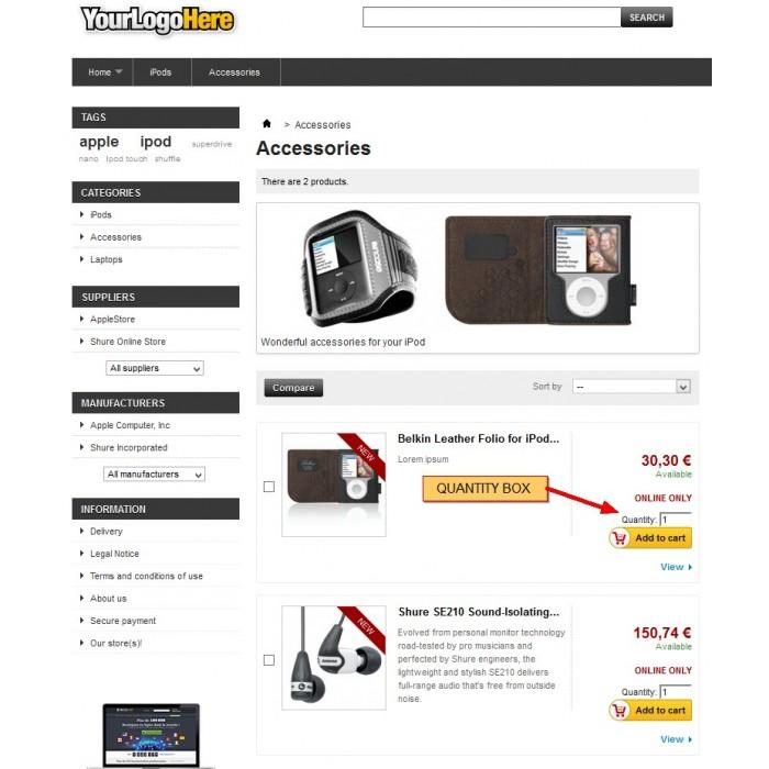 module - Inscripción y Proceso del pedido - Cantidad a comprar en listado de productos - 6