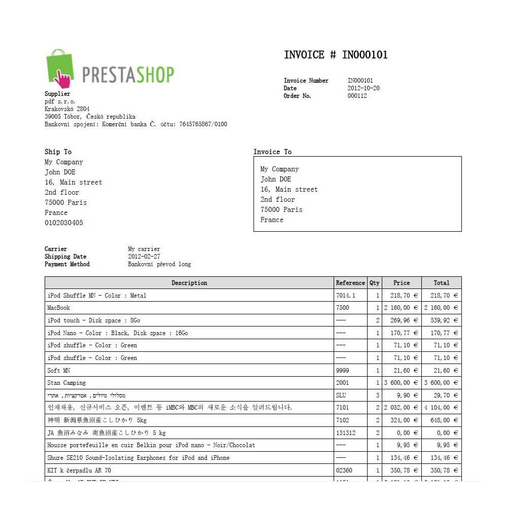 example of proforma invoice