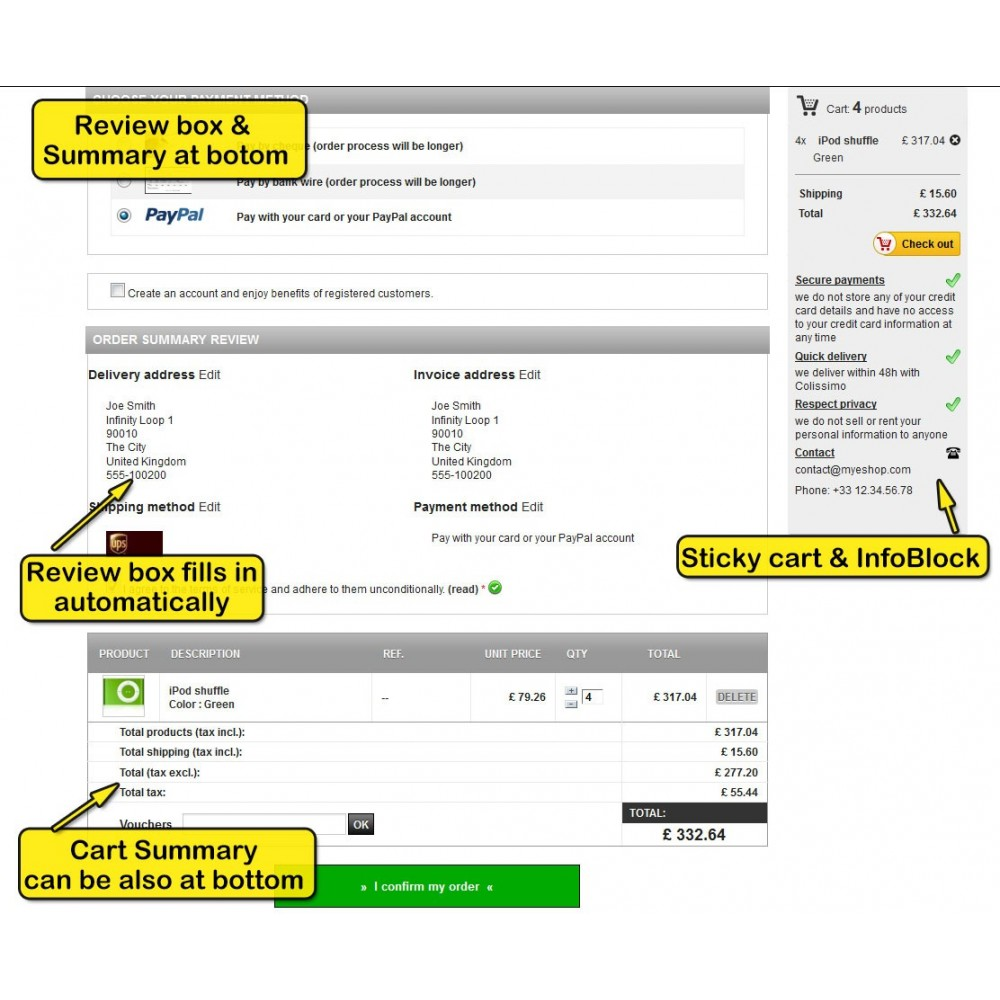 module - Express Checkout Process - One page checkout for Prestashop - 5