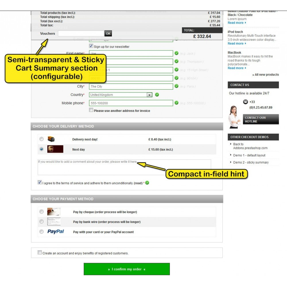 module - Processus rapide de commande - One page checkout for Prestashop - 6