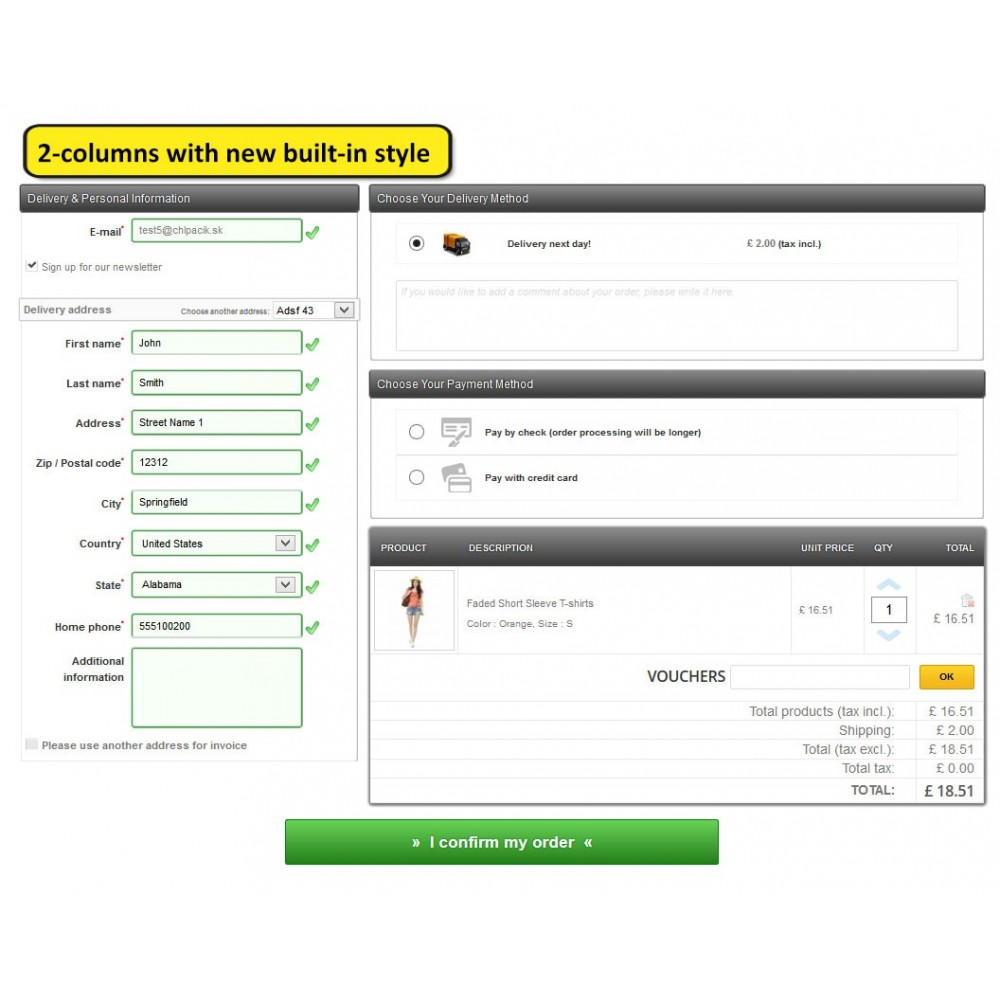 module - Express Checkout Process - One page checkout for Prestashop - 7