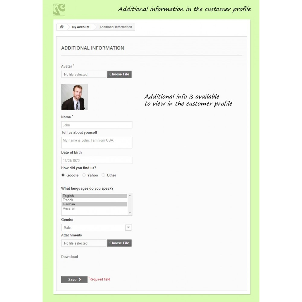 module - Registration & Ordering Process - Customer Attributes and Registration Fields - 6