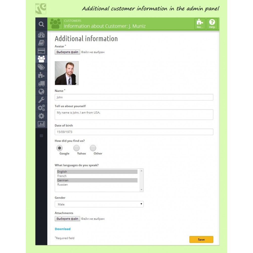 module - Iscrizione e Processo di ordinazione - Customer Attributes and Registration Fields - 7