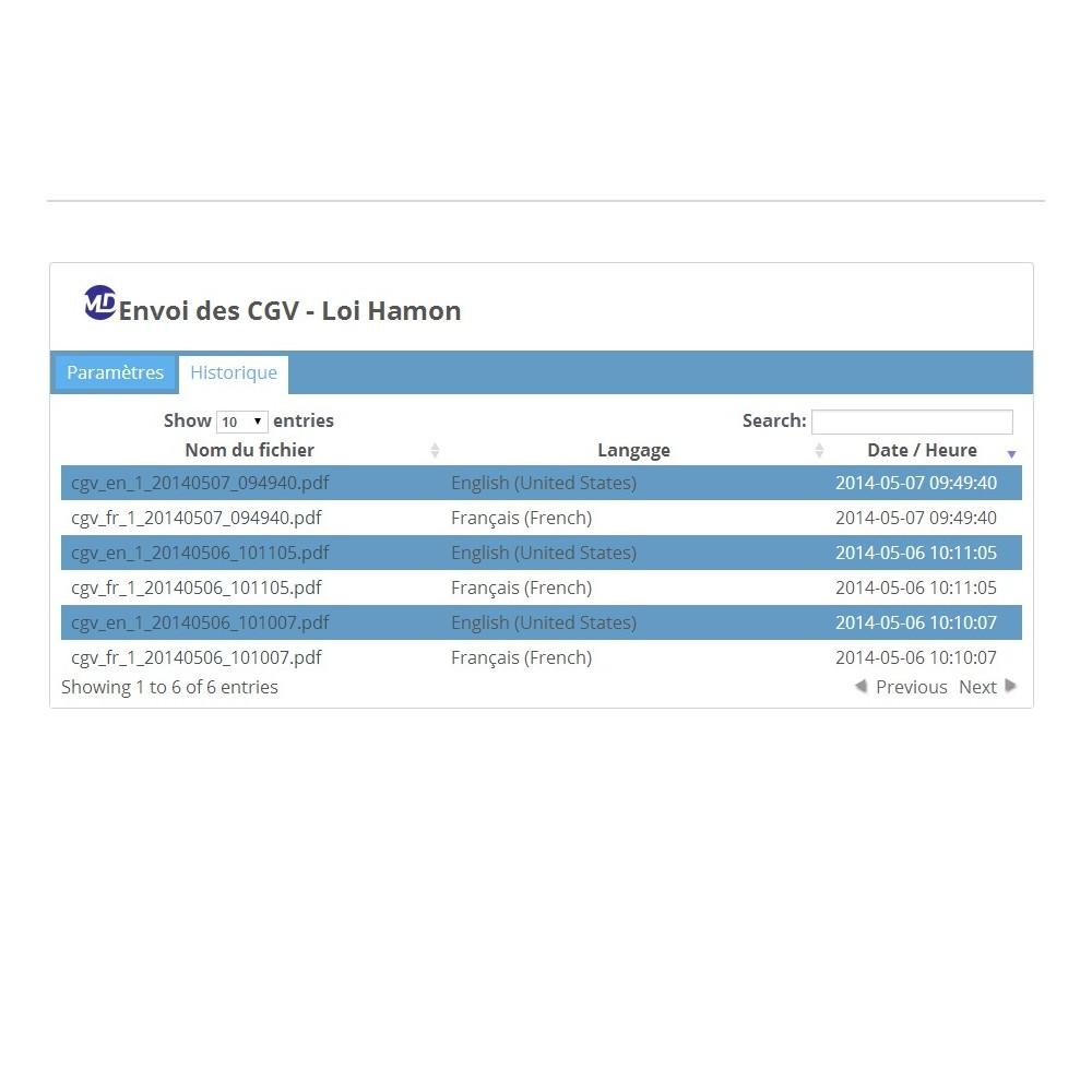 module - Législation - Envoi des conditions générales de vente - Loi Hamon - 2
