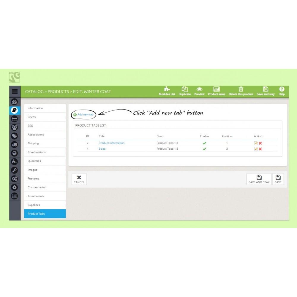 module - Informaciones adicionales y Pestañas - Product Tabs - 1