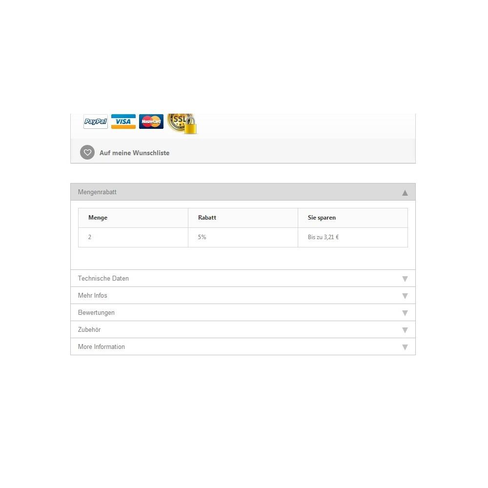 module - Zusatzinformationen & Produkt-Tabs - Tabs2Accordion - 1
