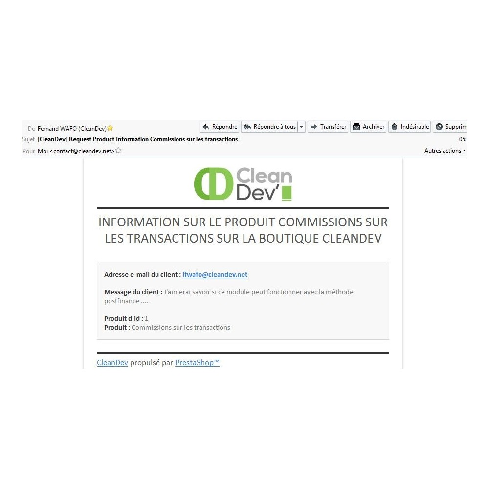 module - Contactformulier & Enquêtes - Informations, questions and quote on a product - 9