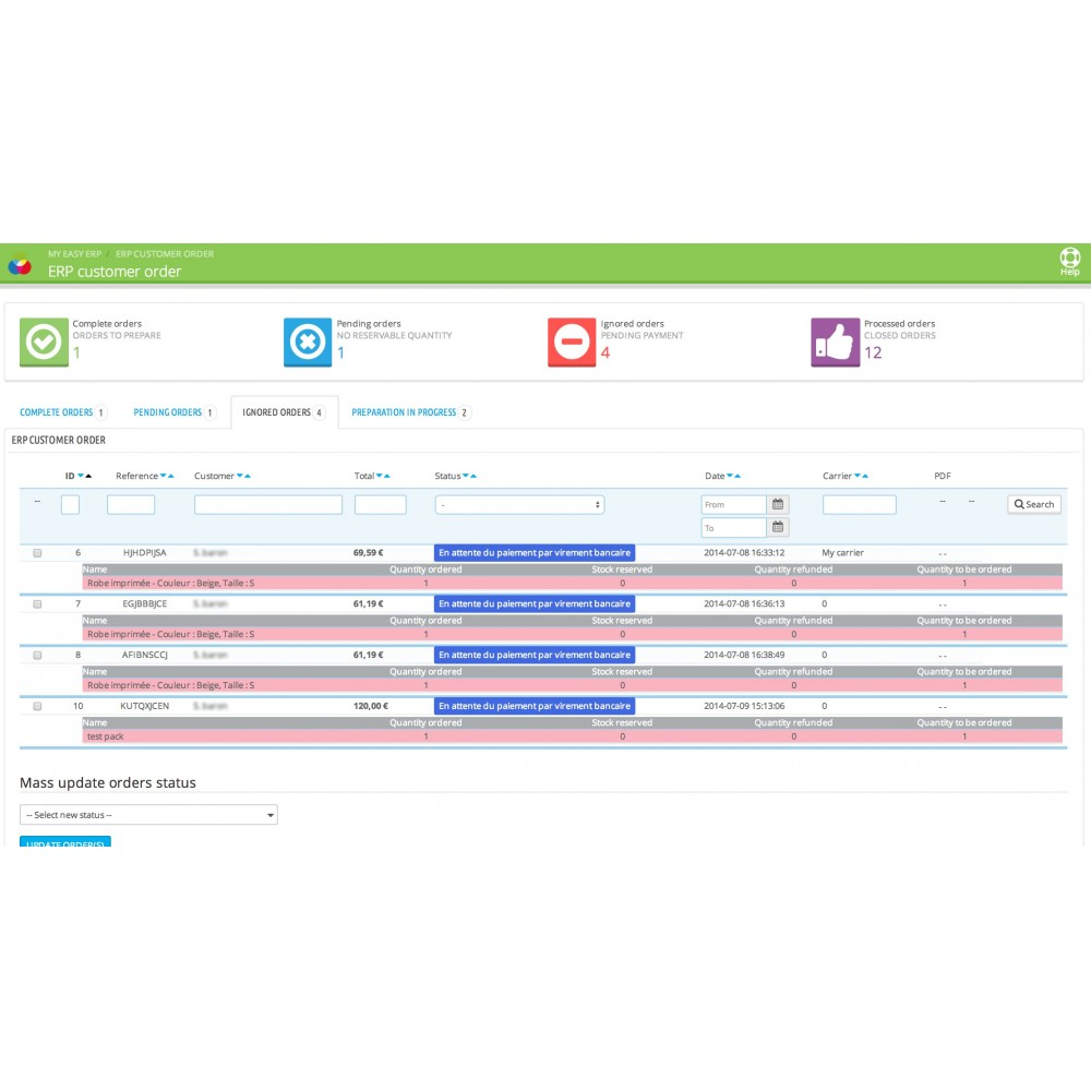 module - Third-party Data Integration (CRM, ERP...) - My Easy ERP - 12