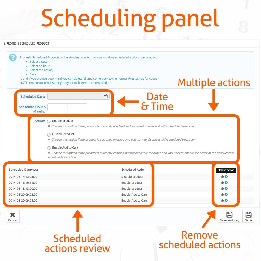 module - Outils d'administration - Scheduled Products Publishing Actions - 3