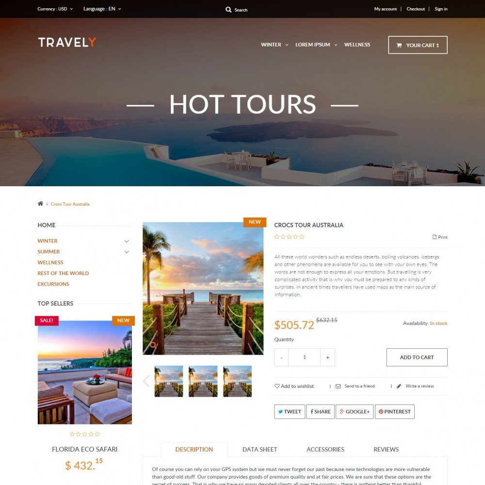 theme - Sports, Activities & Travel - Travely - Travel Shop - 3