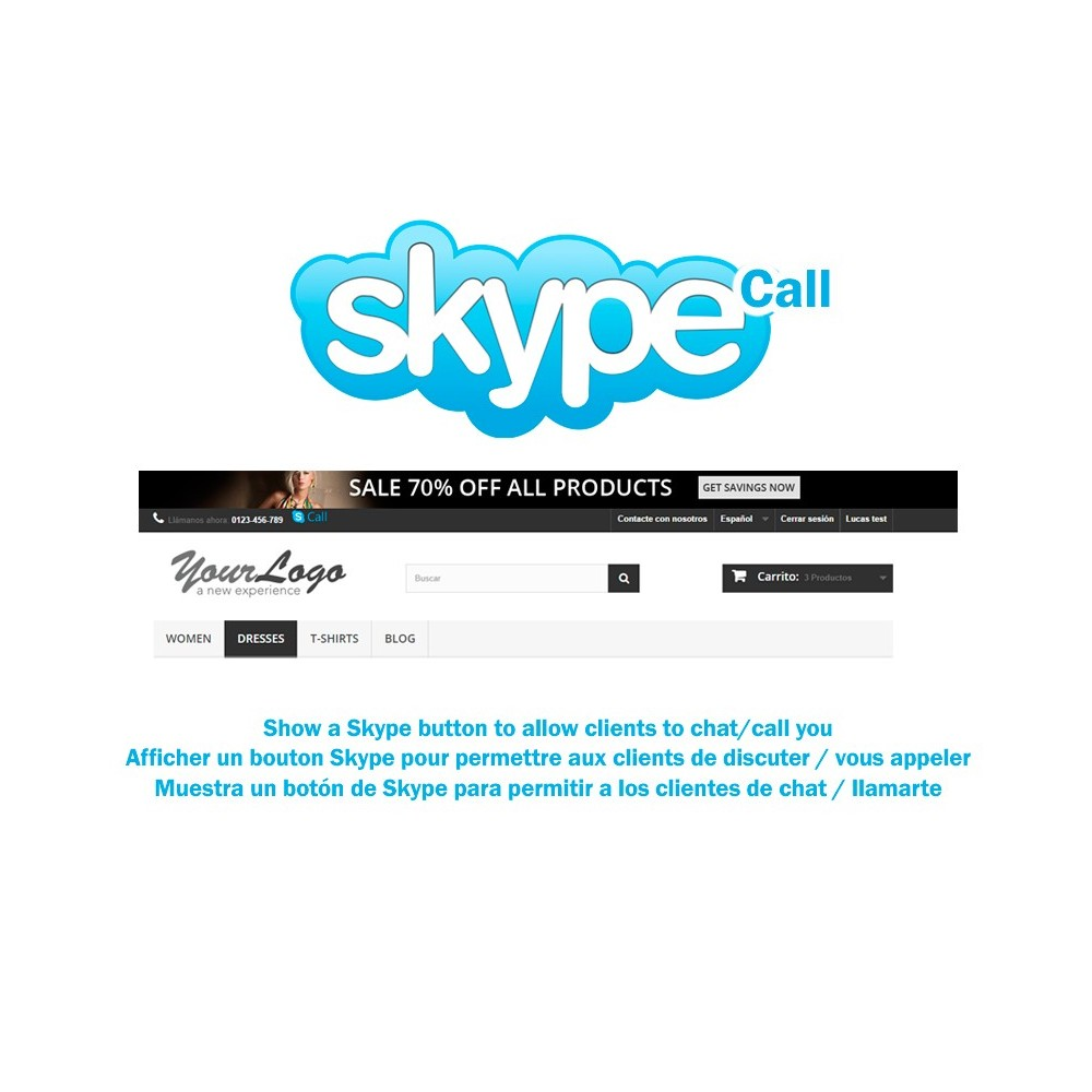 module - Asistencia & Chat online - Skype Call Button - 1