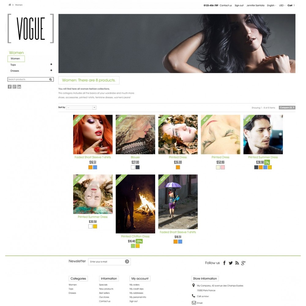 theme - Mode & Schuhe - Vogue Parallax Masonry Prestashop Theme - 8
