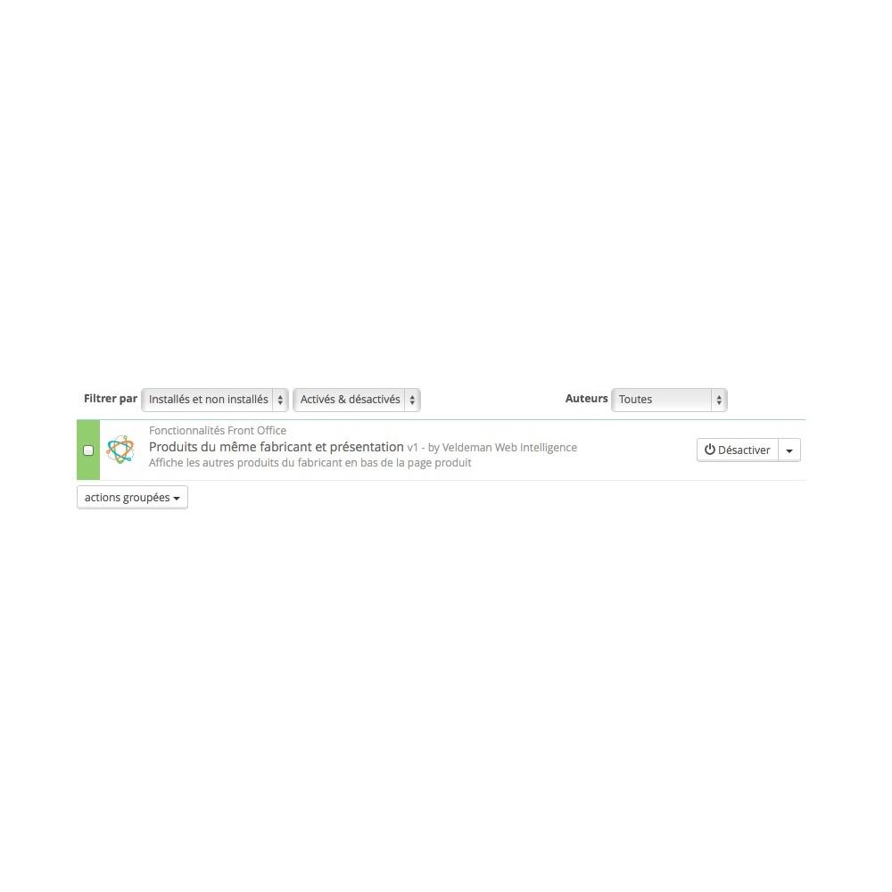module - Ventes croisées & Packs de produits - Présentation du fabricant sur la page produits - 1