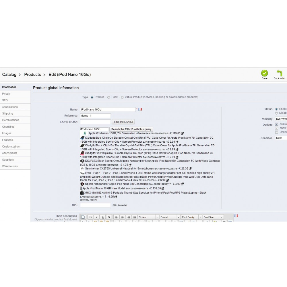 module - Marketplace - Find EAN13, UPC, Weight, Width, Height and Length - 2