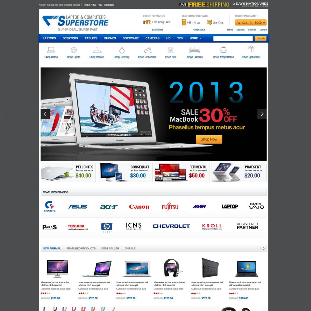 theme - Eletrônicos & High Tech - Prestashop Computer Equipment & Parts - SuperStore - 1