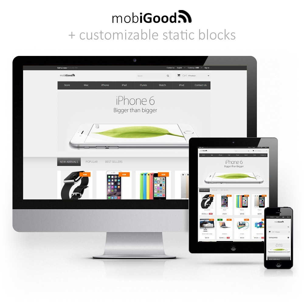 theme - Elektronica & High Tech - iGood Apple Mobile Prestashop 1.6 Responsive - 1