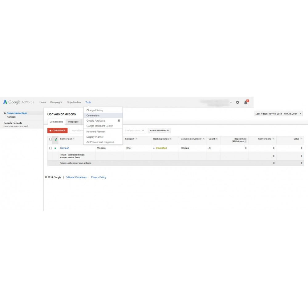 module - Informes y Estadísticas - Google AdWords Conversion Measurement (Tracking Pixel) - 3