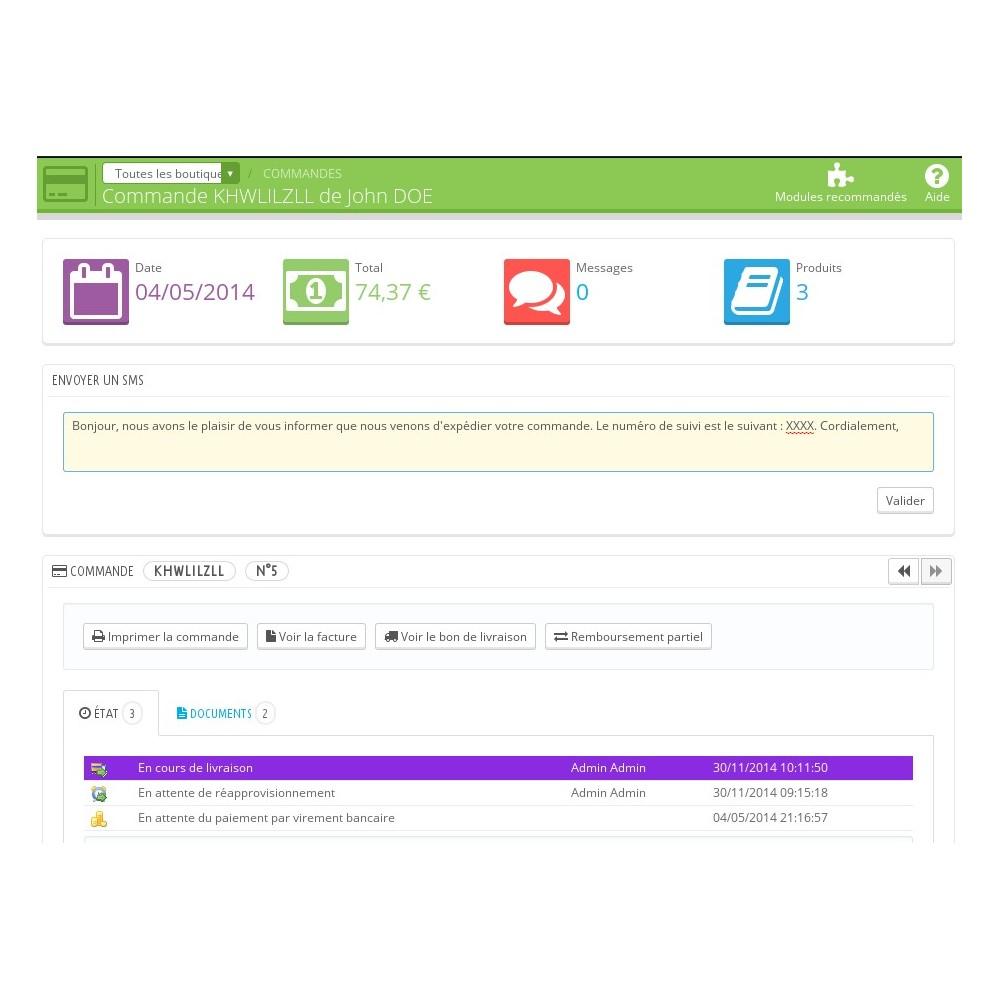 module - E-mails & Notifications - Suivi de commande par SMS - 1