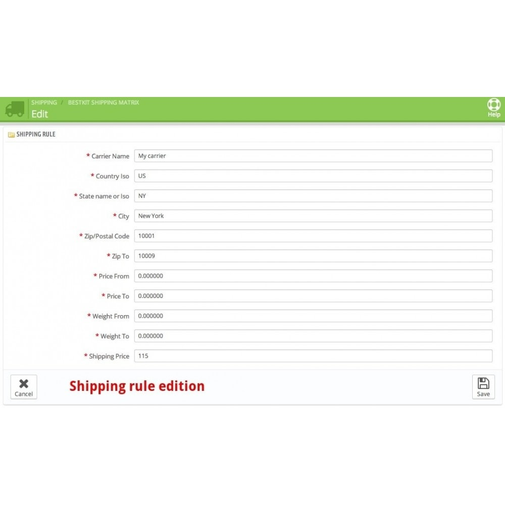 module - Shipping Costs - Shipping cost by Zip/Postal code/Country/State/City - 8
