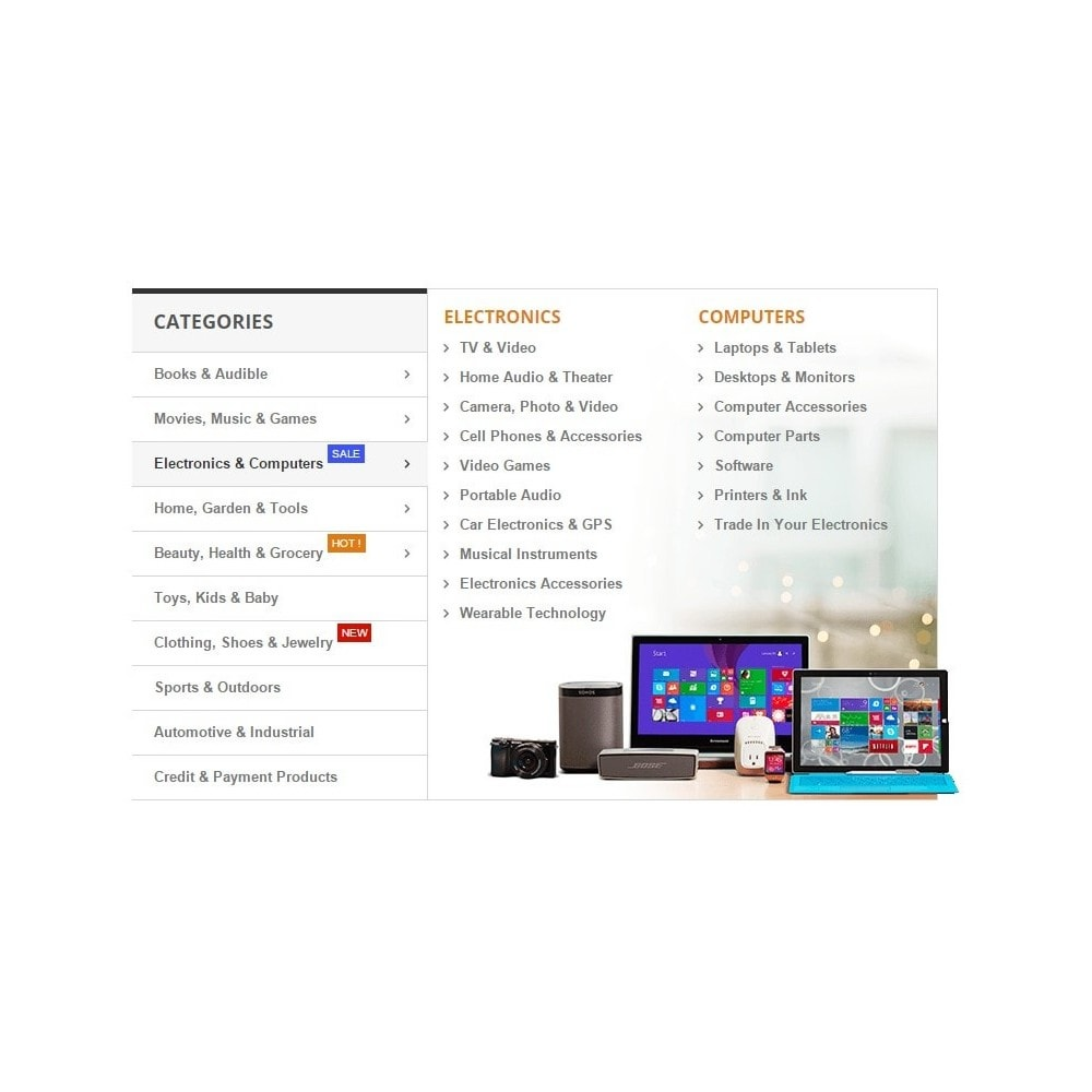 module - Menú - Amazon Dropdown Navigation - Vertical Mega Menu - 3