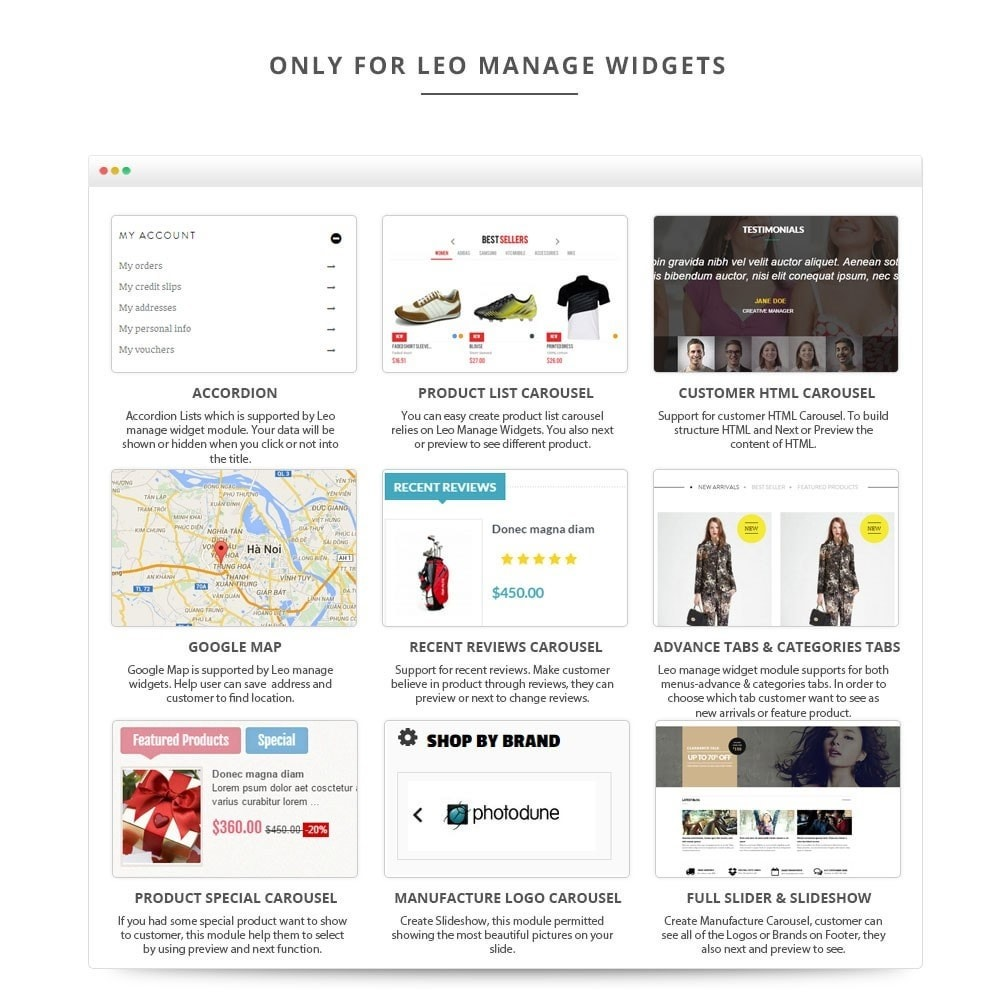 module - Page Customization - Leo Manage Widget - 4