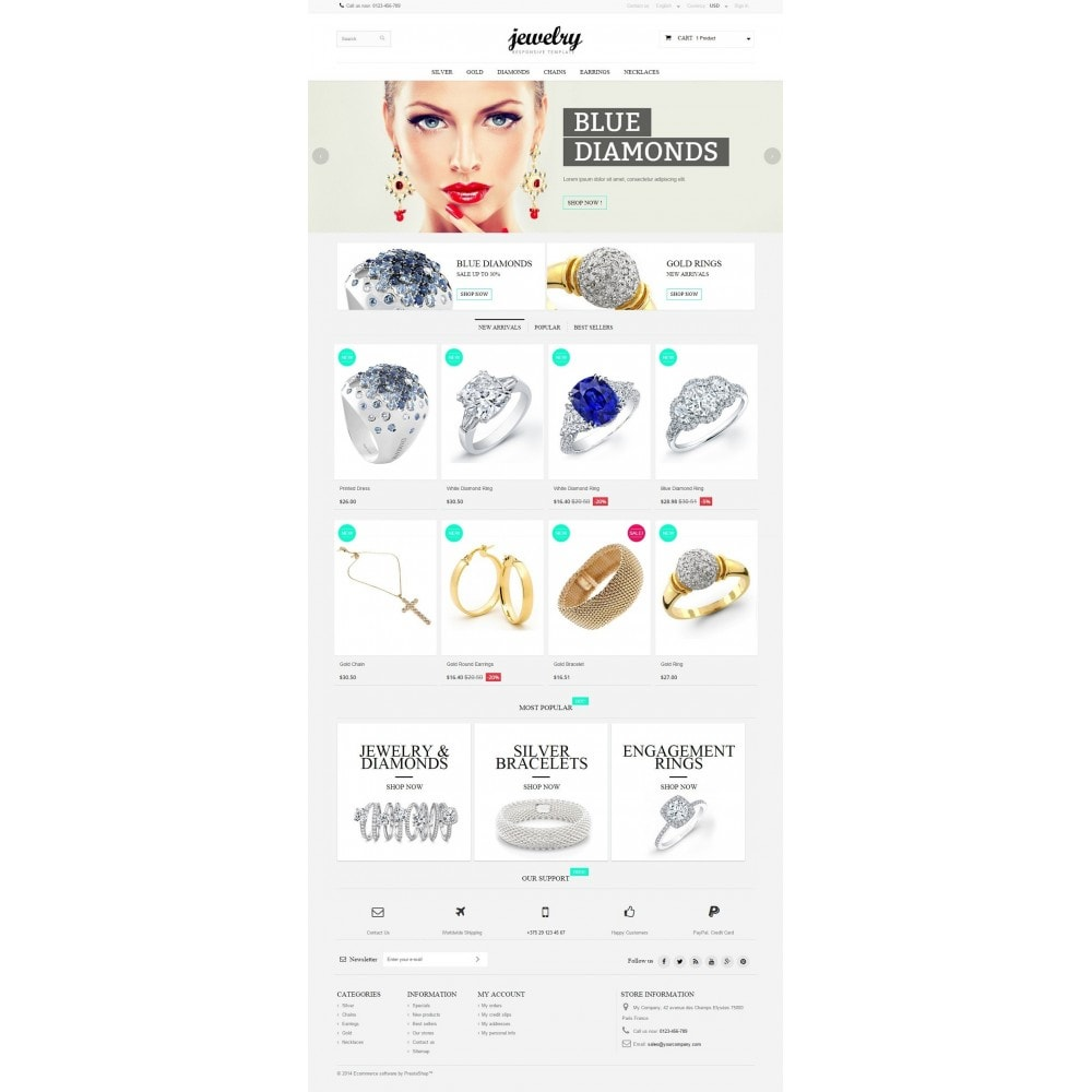 theme - Sieraden & Accessoires - Jewelry Prestashop 1.6 Responsive - 2