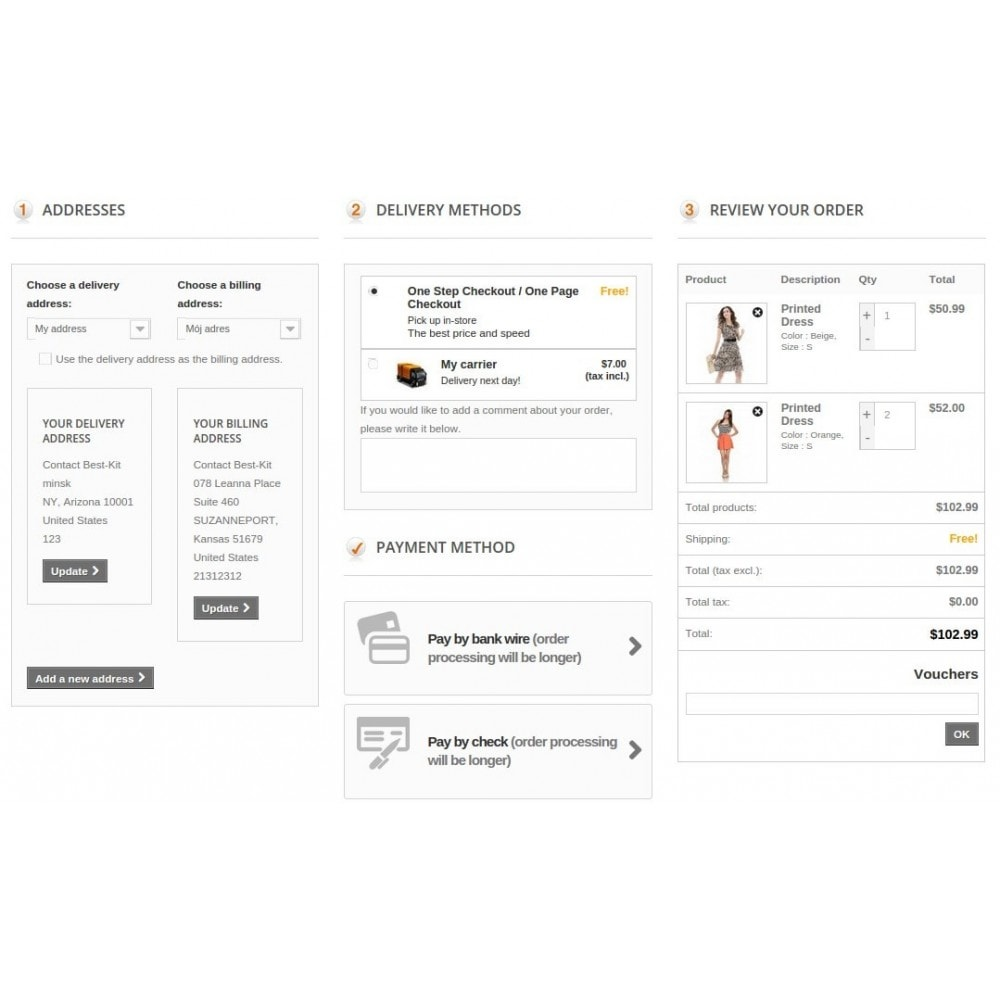 module - Express Checkout Prozesse - Responsive One Step Checkout / One Page Checkout - 3