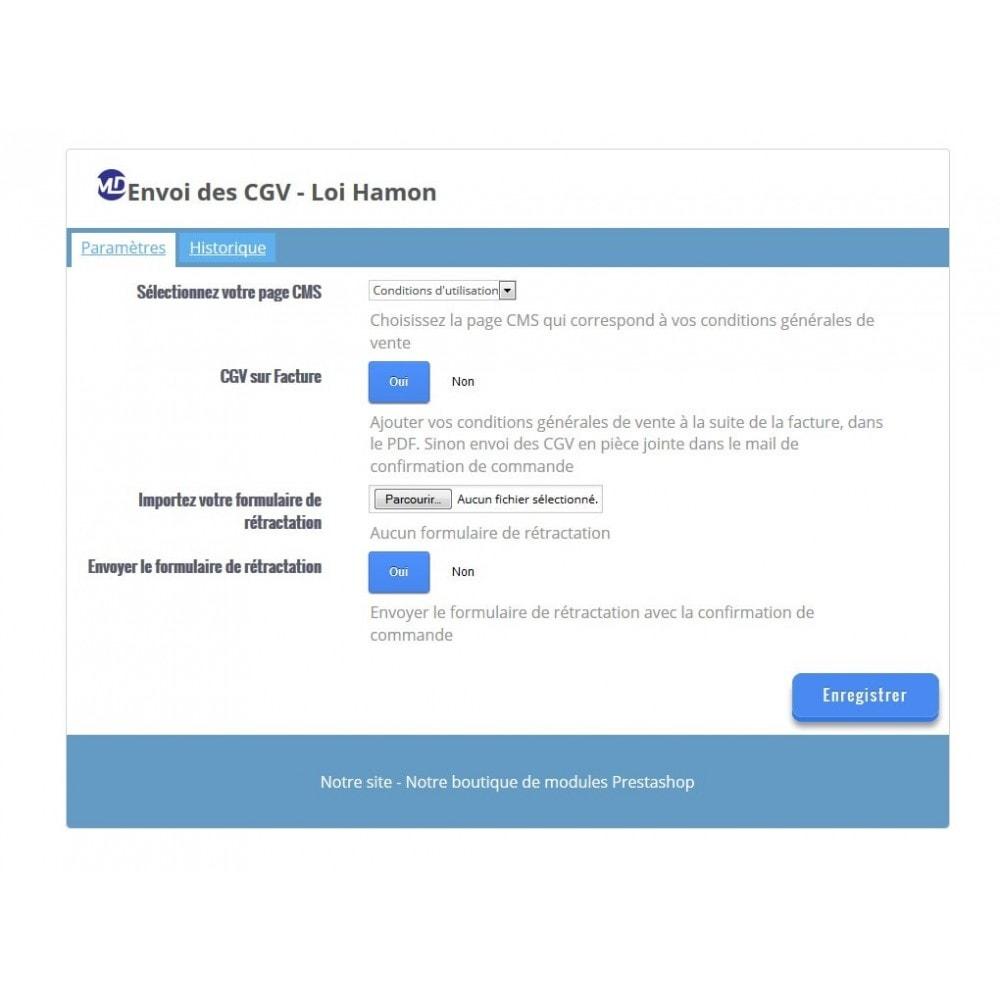 module - Législation (Loi Hamon) - Envoi des conditions générales de vente - Loi Hamon - 1