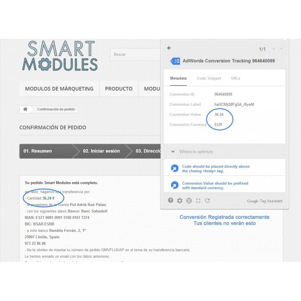 module - Remarketing y Carritos abandonados - Módulo Conversiones para Google Adwords - Smart Modules - 5