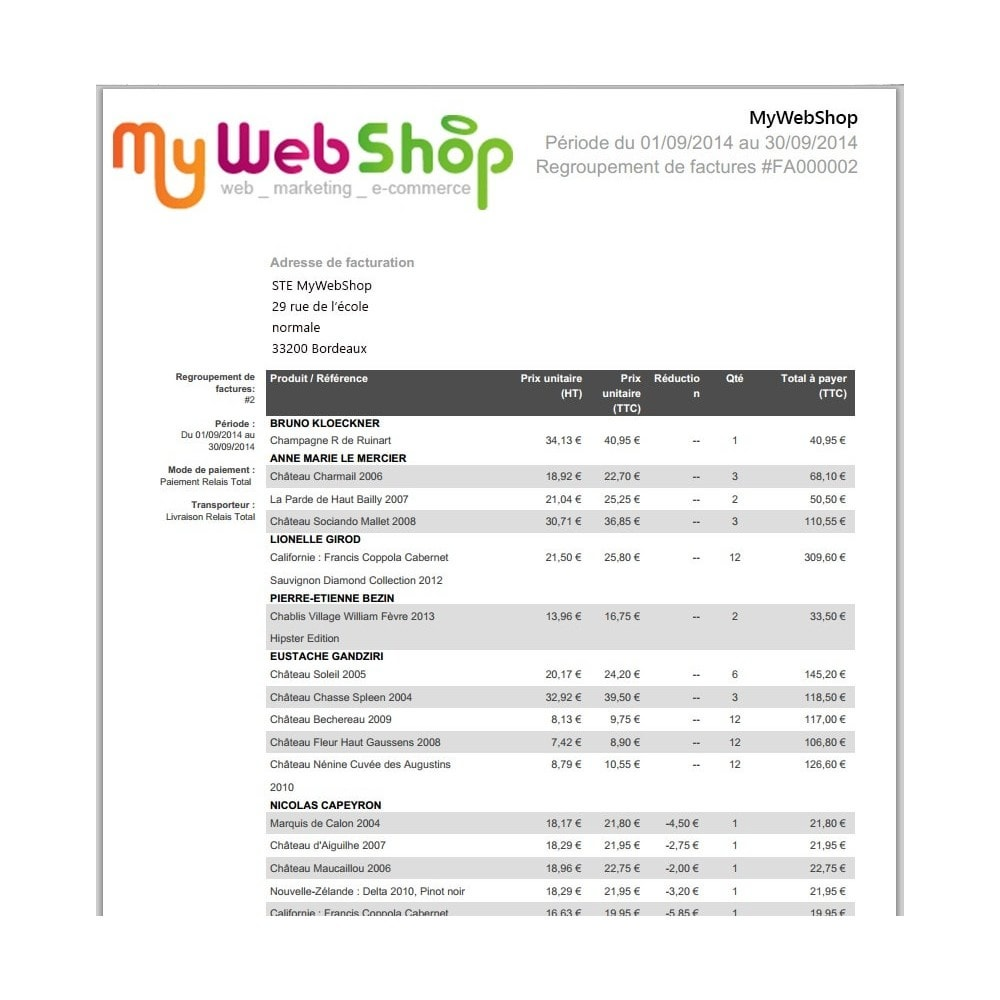 module - Contabilidade & Cobrança - Invoices for customers group - 1