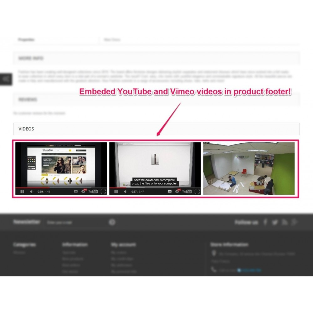 module - Videos & Music - YouTube and Vimeo product videos - 3