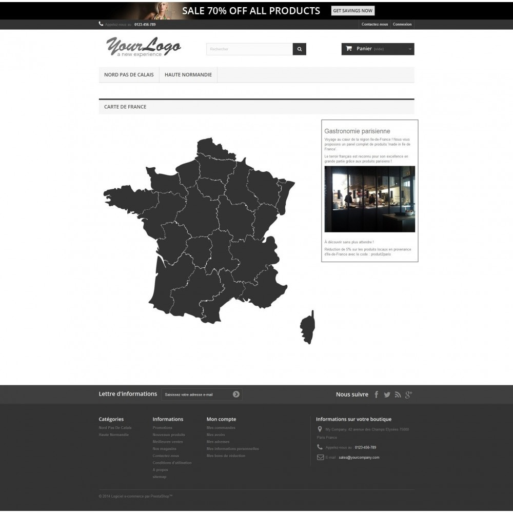 module - Internacional & Localização - Interactive et responsive design map of France - 1