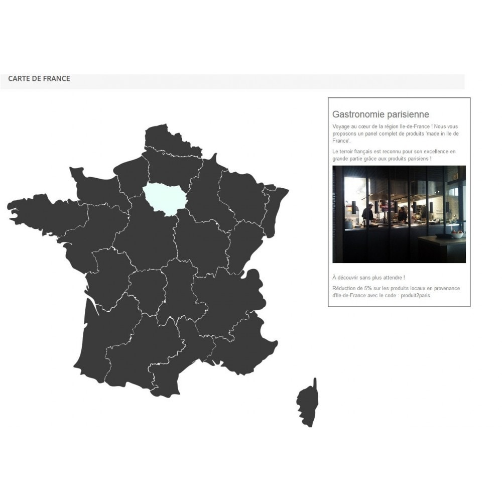 module - Internacional & Localização - Interactive et responsive design map of France - 2